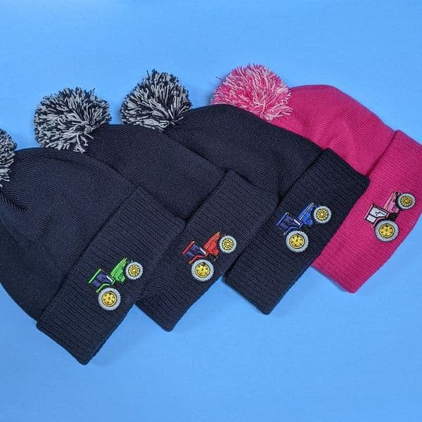 Kids winter Tractor bobble hat navy with red tractor